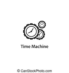 machine, icône, temps