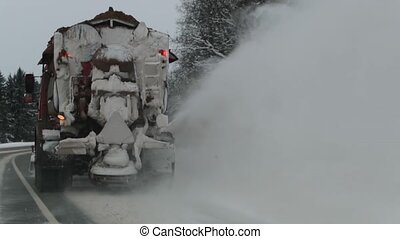 machine, lent, road., enlève, dos, neige, mouvement, snow-removing, vue