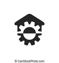 machine, maison, géométrique, roue, vecteur, logo, simple