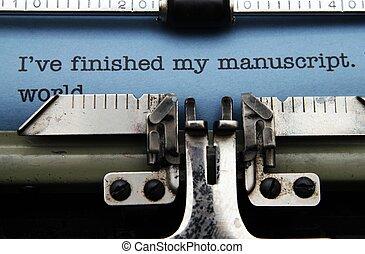 machine, manuscrit, machine écrire