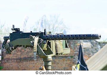 machine, monté, fusil, véhicule