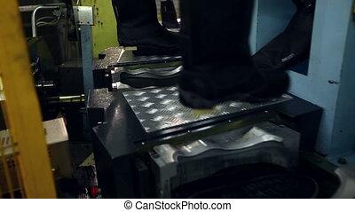 machine, semelle, bottes, caoutchouc, chaleurs, vue