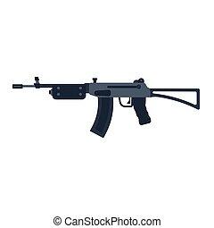 machine., silhouette, armée, arme, arsenal, fusil, war., assaut, vecteur, noir, munitions, fusil, police, militaire, automatique, côté, icône