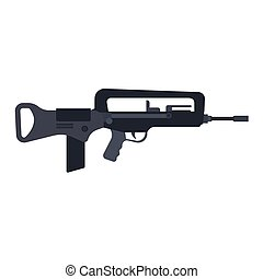 machine., silhouette, armée, arme, arsenal, gencive, war., assaut, vecteur, noir, munitions, fusil, police, militaire, automatique, côté, icône