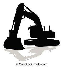 machine, silhouette, travail, noir, excavateur