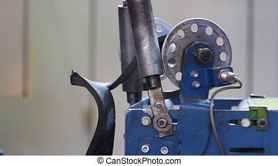machine., tambour, reeled, haut, caoutchouc, bande