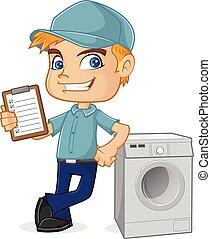 machine, technicien, lavage, hvac, penchant