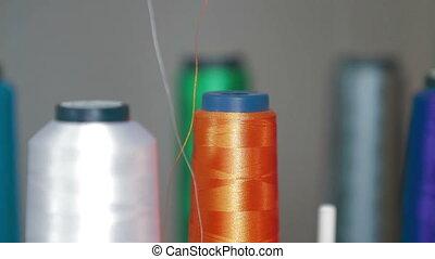 machine, textile, rotation, détail, broderie