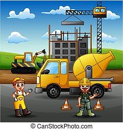 machine, travail construction, ouvrier, grue