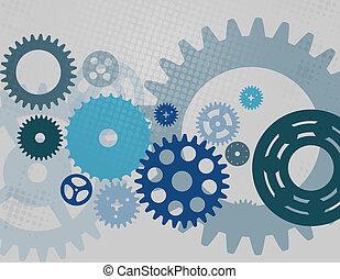 machine, vecteur, engrenage, pattern., roue, roue dentée, illustration.