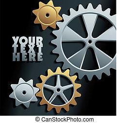 machine, vecteur, engrenages