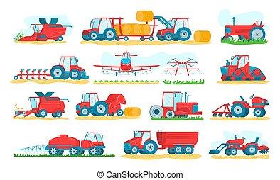 machinerie, ensemble, illustrations., tracteurs, combines., agricole, moissonneuses, vecteur, blanc, isolé, agriculture, ferme, véhicules, machines.