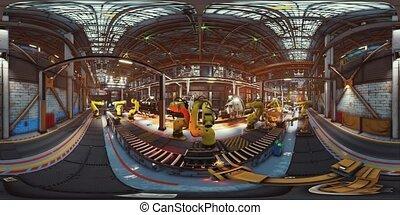 machinerie, vr360, production, usine, ligne