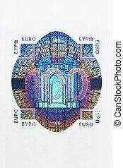 macro, 100, hologramme, euro