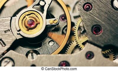 macro, closeup, mechanism., interne, haut, foyer., vieux, mécanisme horloge, doux, coup, fin, engrenages, montre, loop., vendange, fonctionnement, mouvement
