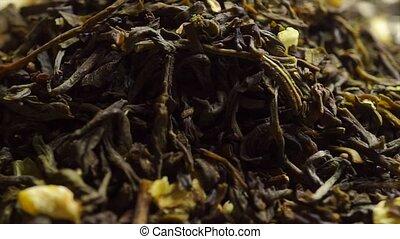 macro, jasmin, tas, tourner, vidéo, thé, vert