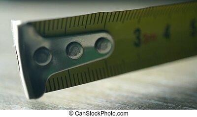 macro, mesure, coup, jaune, bande