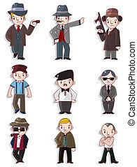 mafia, ensemble, dessin animé, icône