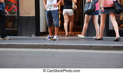 magasin, été, chaussures, gens, rue, aller, jambes, venir