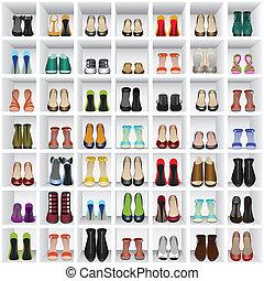magasin, étagères, chaussures