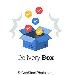 magasin, achat, ensemble, multiple, paquet, recevoir, vente gros, livraison, produits, postal, articles
