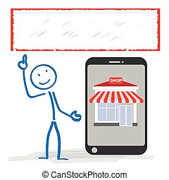 magasin, bannière, stickman, smartphone