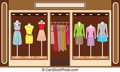 magasin, boutique., habillement, femmes