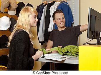 magasin, business:, acheteur, portrait, aide, petit