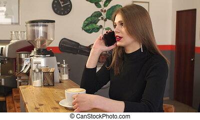 magasin, café, conversation, jeune, téléphone, chaud, boire, girl, cappuccino.