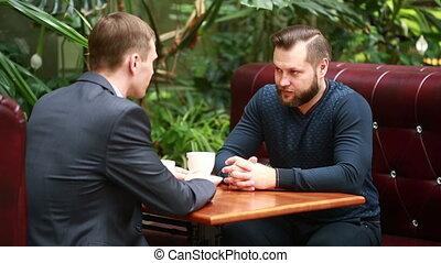 magasin, café, séance, discussion, deux, businessmen., café