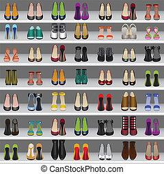 magasin, chaussures, étagères