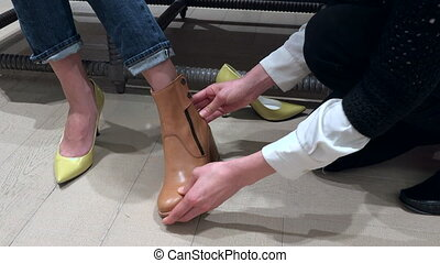 magasin, chaussures, haut, pieds, luxe, femme, fin