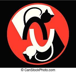 magasin, chouchou, logotype, vétérinaire, enseigne, deux, chat, clinique, chats, noir, miroir, étiquette, blanc, silhouetten, cercle, rouges, emblème