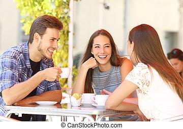 magasin, conversation, café, amis, terrasse