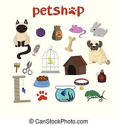 magasin, décoratif, ensemble, icônes, chouchou, caméléon, chien, chat, canari, animaux familiers, marchandises, fish, lapin, dessin animé