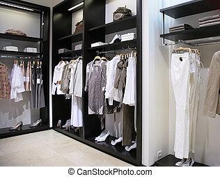 magasin, département, vêtements, chaussures, femmes