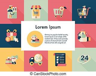 magasin, ensemble, faire courses ligne, icônes