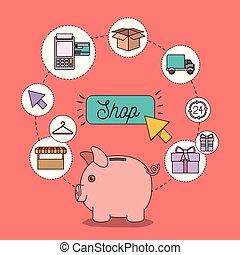 magasin, ensemble, icônes, couleur, lumière, tirelire, saumon, économies, fond