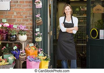 magasin, femme, fleur, sourire, fonctionnement