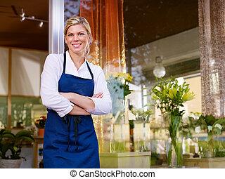 magasin, femme, fonctionnement, jeune, joli, fleuriste, sourire