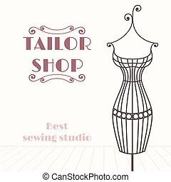 magasin, fer, vendange, mannequin., tailleur, fond