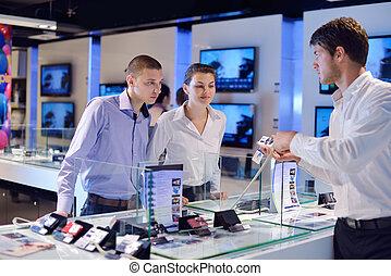 magasin, gens, électronique consommateur, achat