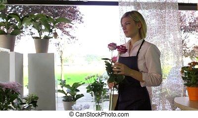 magasin, girl, travail, fleurs, joli