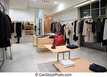magasin, habillement, section, extérieur, femme