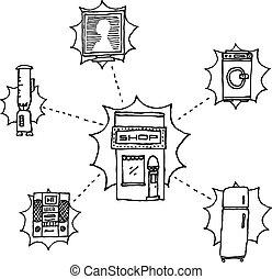 magasin, /, hand-drawn, vecteur, appareils, maison