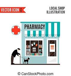 magasin, isolé, pharmacie, arrière-plan., blanc, icône