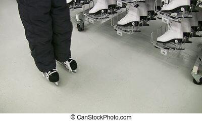 magasin, jambes, patins, enfant