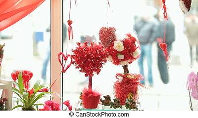 magasin, jour valentine, cadeau, vitrine