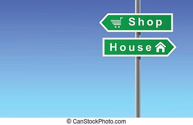 magasin, maison, flèches, fond, ciel