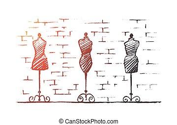 magasin, mannequins, main femelle, corps, dessiné, mode